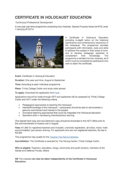 Certificate in Holocaust Education